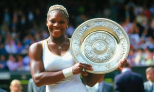 Serena Williams after defeating her sister Venus to win her first Wimbledon singles title in 2002.