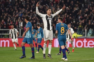 Cristiano Ronaldo of Juventus celebrates after scoring the opening goal.