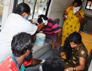 Victims being treated after the gas leak in Visakhapatnam.
