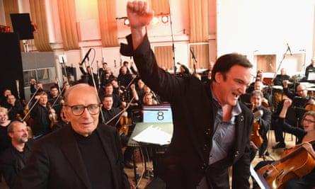 Ennio Morricone and Quentin Tarantino recording the Hateful Eight soundtrack at Abbey Road studios.