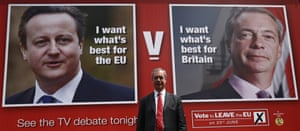 Nigel Farage launches his referendum campaign poster.