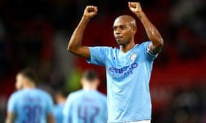 Fernandinho of Manchester City celebrates victory.
