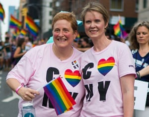 Nixon with her wife, Christine Marinoni, at the 2018 New York City Pride march