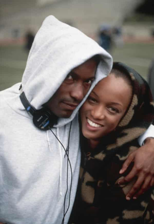 John Singleton on the set of Higher Learning with Tyra Banks.