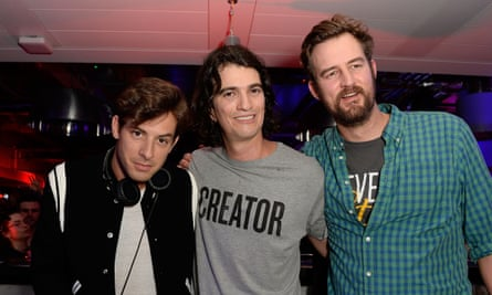 On a mission: Adam Neumann with Miguel McKelvey and DJ Mark Ronson, who performed at a WeWork party.