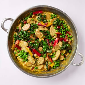New potato, chard and coconut curry