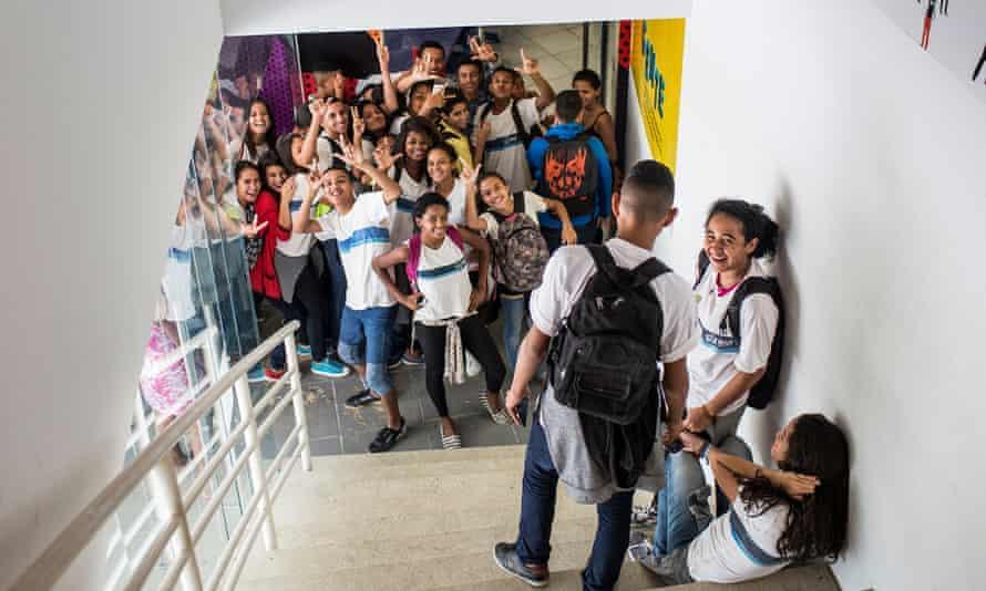 Students at André Urani school in Rio de Janeiro, Brazil