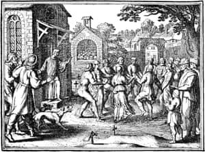 Victims Of The Hysterical Dancing Mania Of The Late Middle Ages In A Churchyard. German Engraving, C1600.