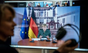 The German chancellor, Angela Merkel – seen here speaking during an international climate video conference
