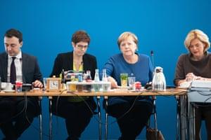 Annegret Kramp-Karrenbauer and Angela Merkel at a board meeting of the CDU in Berlin, November 2019