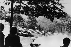 Lauda suffered serious burns when his Ferrari hit an embankment and caught fire during the second lap of the German Grand Prix at the Nuerburgring on 1 August 1976.