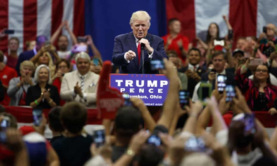 Donald Trump addresses a supportive crowd in Columbus, Ohio on 1 August 2016: 'I'm telling you November 8, we better be careful because that election's going to be rigged.'