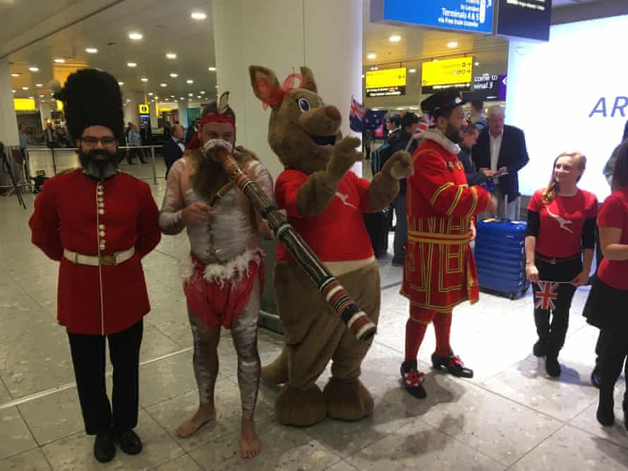 Ground staff greet QF9 after its history-making 17-hour flight from Perth.