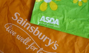 Shopping bags from Asda and Sainsbury's.