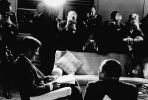 JFK signs the Blockade Proclamation before photographers during the Cuban Missile Crisis on 3 November 1962