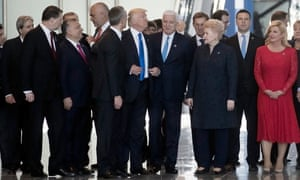 Donald Trump (centre) with other nations' leaders at Nato HQ, Brussels, May 2017.