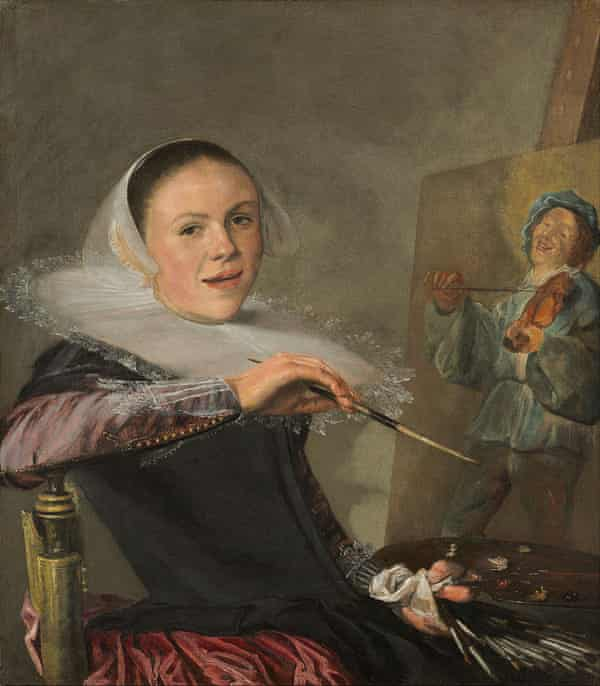 Self-Portrait by Judith Leyster. (c. 1630). Oil on canvas, 74.6 cm x 65.1 cm. Leyster's entire oeuvre was attributed to Frans Hals until 1893.