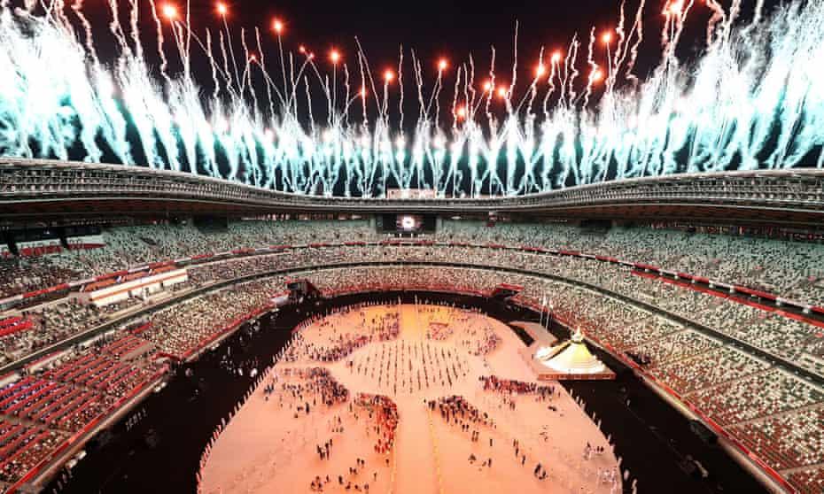 Fireworks over stadium