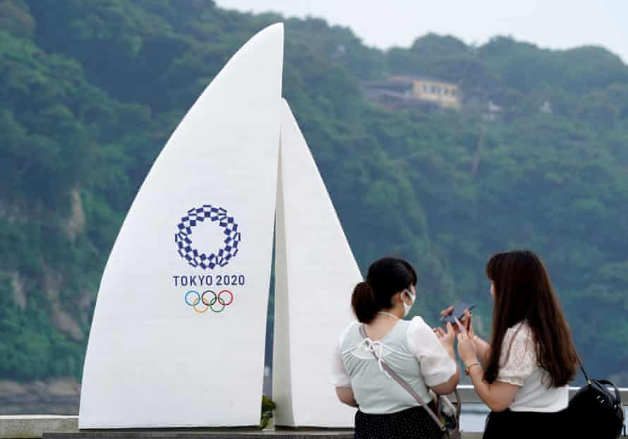 A Tokyo 2020 monument is pictured near Enoshima yacht harbour in Fujisawa.
