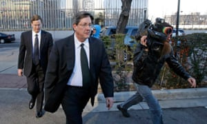 Lyle Jeffs, foreground, and his brother Nephi leave the federal courthouse in Salt Lake City