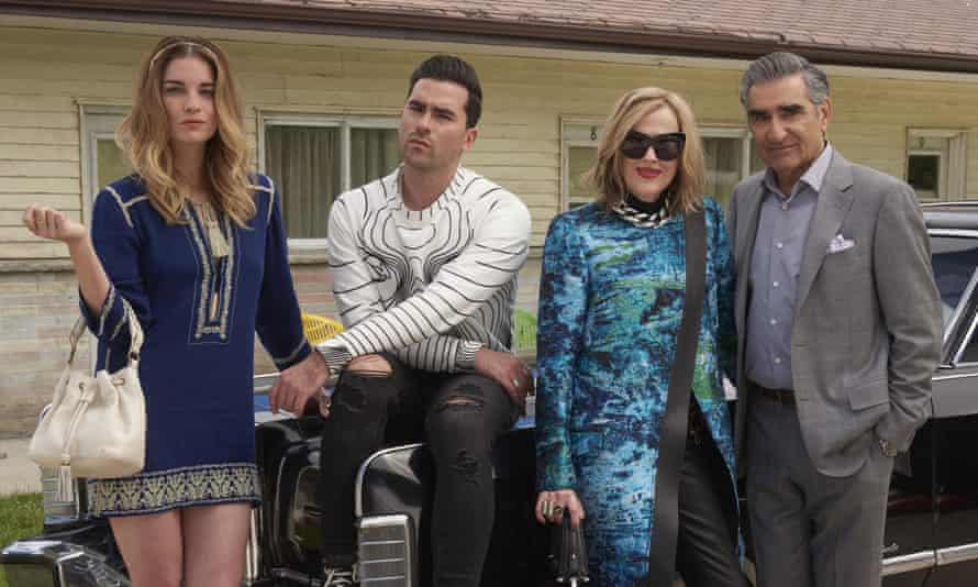 Getting the Schitt to stick ... Annie Murphy, Daniel Levy, Catherine O'Hara and Eugene Levy in the Canadian comedy.