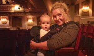 Gemma Goggin with baby Arno at the Vaudeville theatre