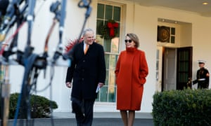Nancy Pelosi and Chuck Schumer leave the West Wing on Tuesday.