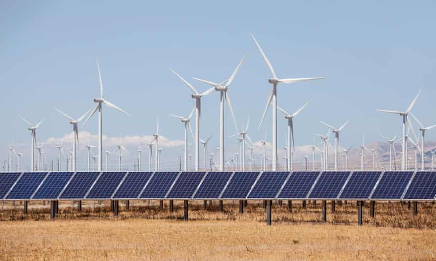 Wind turbines and solar panels alternative energy production