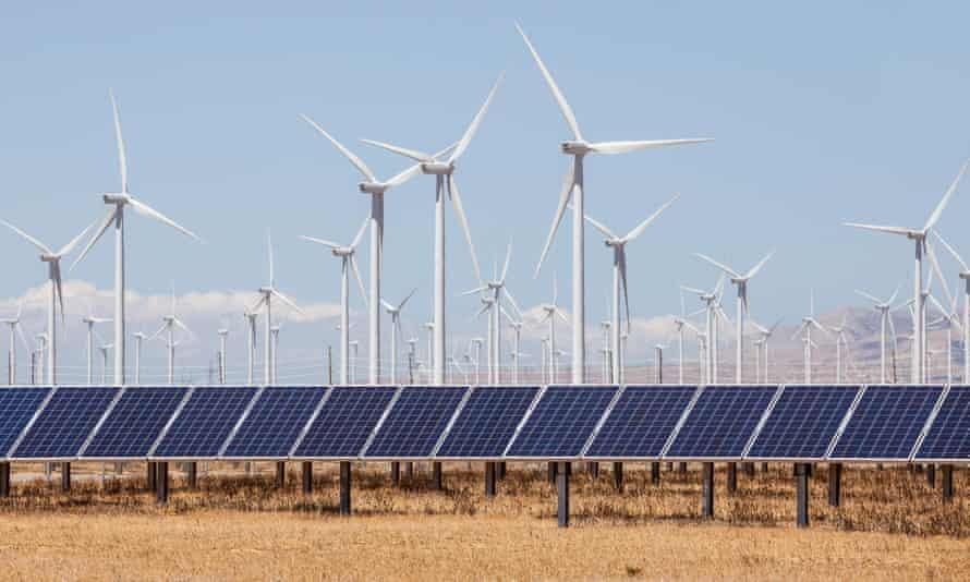 A hybrid wind and solar farm
