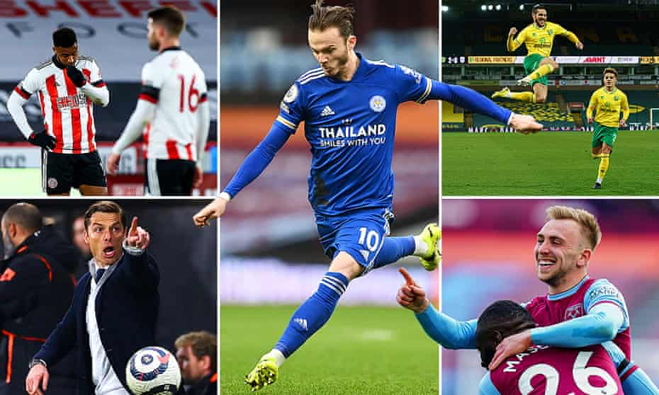 Clockwise from top left; Lys Mousset of Sheffield United, James Maddison of Leicester City, Emi Buendía of Norwich City, West Ham's Jarrod Bowen and Fulham manager Scott Parker.