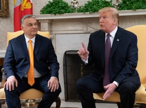 Trump meets with Viktor Orbán at the White House.