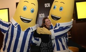 Sarah Hanson-Young poses with B1 and B2 during an ABC showcase in Parliament House