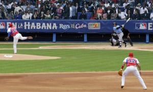 The Tampa Bay Rays at bat against the Cuban national team.