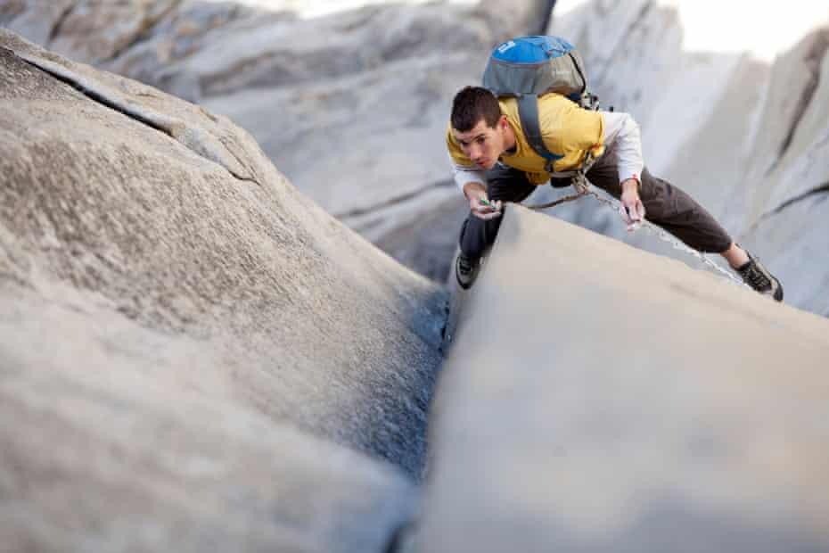 Alex Honnold climbs the nose on El Capitan in Yosemite.