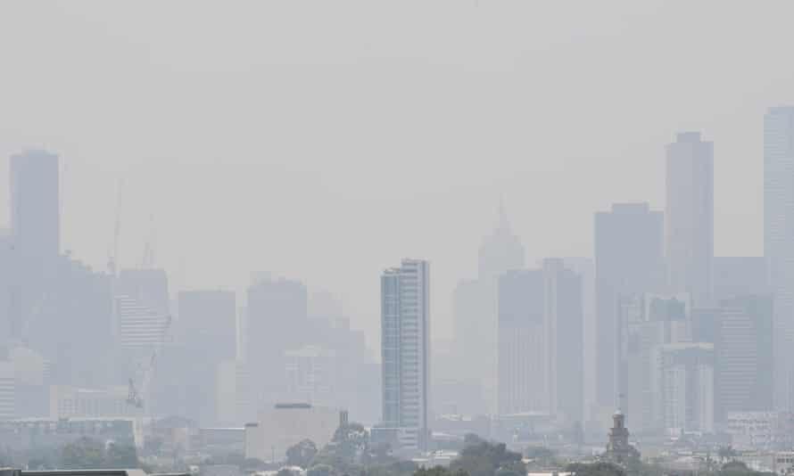 Smoke haze over Melbourne on Friday