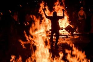 Demonstrators clash with police in Medellín