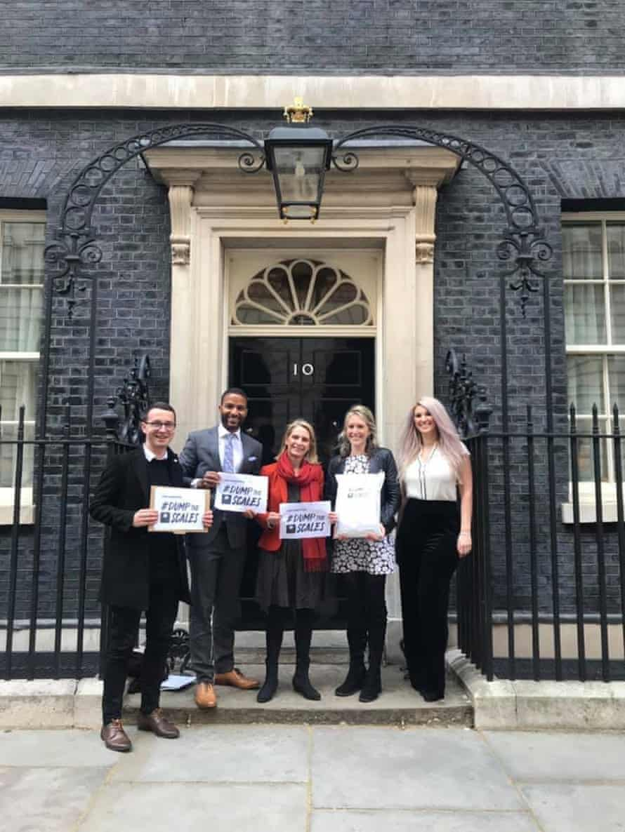 Hope Virgo, second from right, at Downing Street in April 2019 with the #DumpTheScales petition and campaign supporters, from left, Andrew Mitchell, TV presenter Sean Fletcher, Wera Hobhouse MP and Tatjana Trposka.