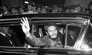 Fidel Castro outside the Statler Hotel on a visit to New York
