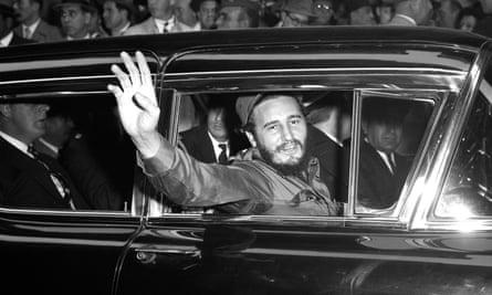 Fidel Castro outside the Statler hotel in New York.
