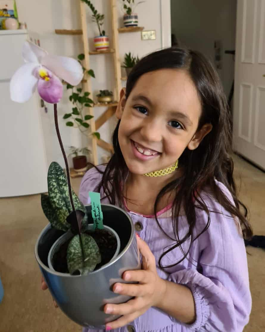 Inajara Schuaber's daughter, with one of her orchids.