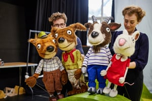 Lizzie Wort and Gilbert Taylor with the animal puppets