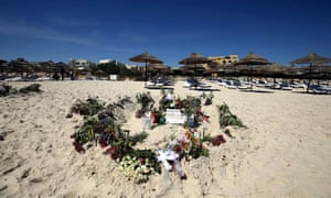 Tributes on the beach near the Imperial Marhaba hotel in Sousse, Tunisia