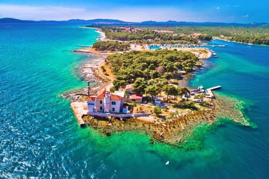 Jadrija lighthouse at the entrance to Sibenik bay, near Zlarin, Croatia.