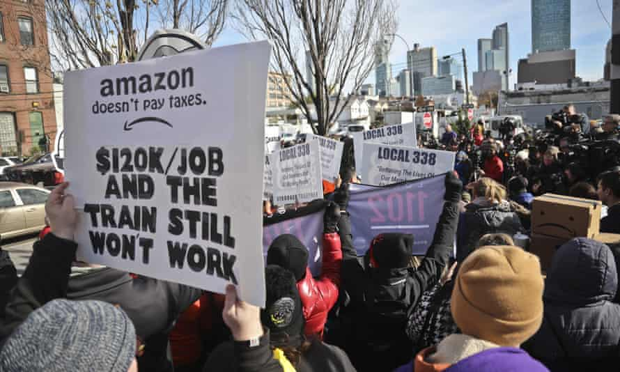 Protesters rally against the proposed Amazon headquarters in Queens, New York in November.