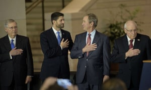 From left, US Senate majority leader Mitch McConnell, speaker of the house Paul Ryan and former US President George W Bush wait for the US national anthem along with Cheney.