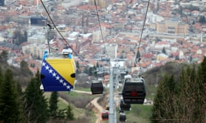 The Sarajevo-Mount Trebević gondola this week, showing a car printed with the flag of Bosnia-Herzegovina.