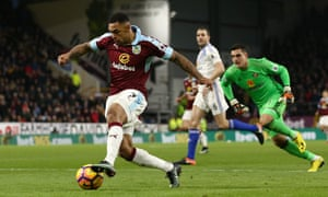 Andre Gray scores one of his three goals against Sunderland on New Year's Eve. In 2012 the Burnley striker was playing for Hinckley United.
