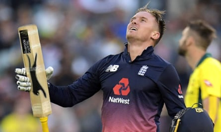 England's Jason Roy celebrates after reaching his century against Australia at the MCG on Sunday. A fixture in the one-day side, Roy has never played Test cricket.