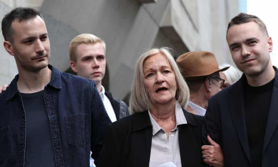Sally Challen with her sons James (left) and David