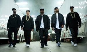 From left, Aldis Hodge, Neil Brown Jr, Jason Mitchell, O'Shea Jackson Jr, and Corey Hawkins in a scene from the film, Straight Outta Compton.